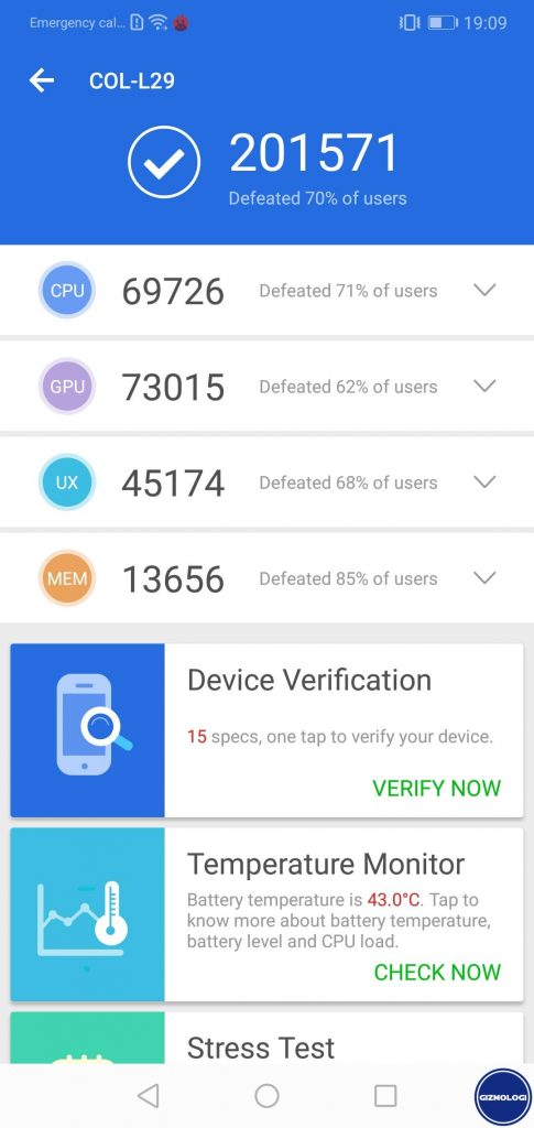 benchmark Honor 10 2