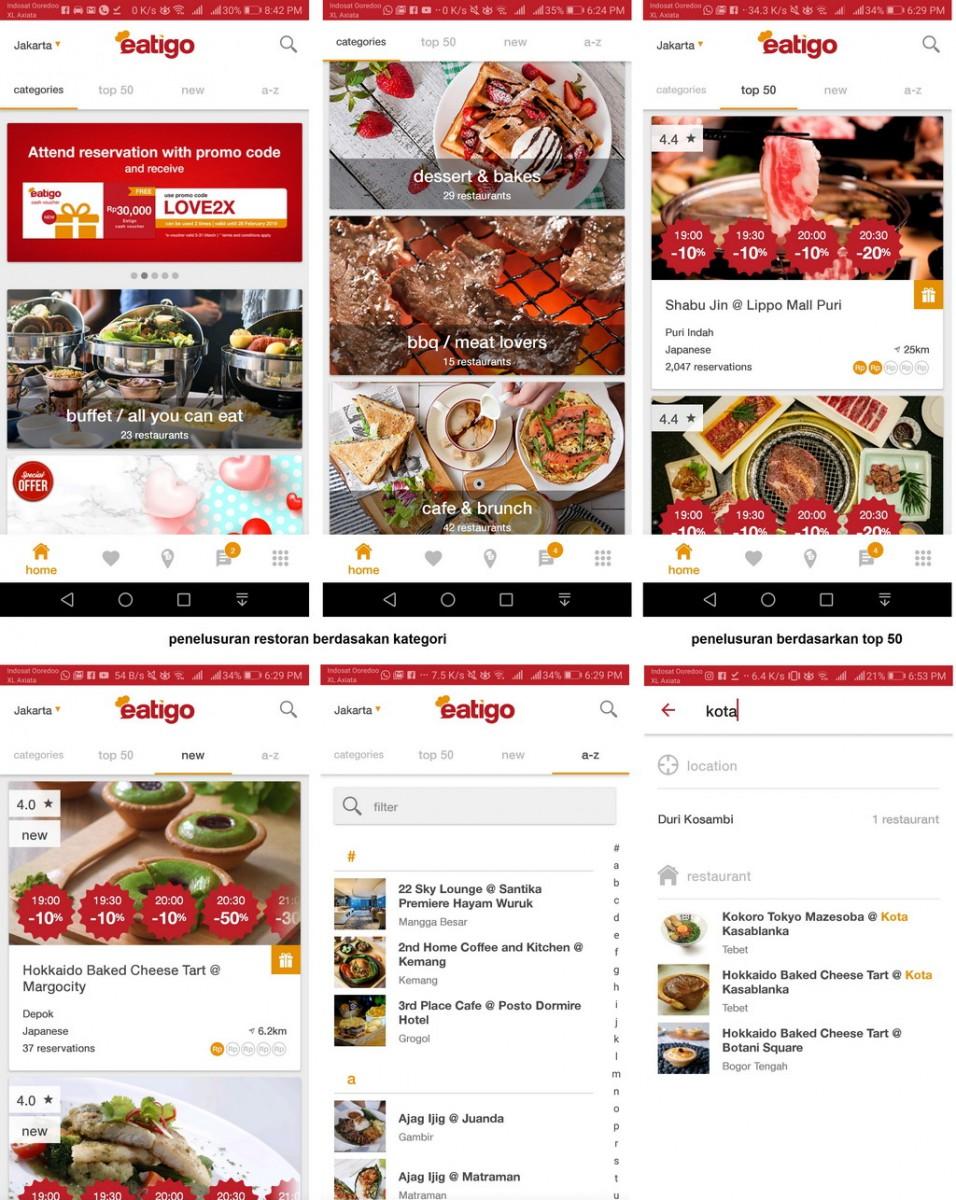 Penelusuran restoran dengan Eatigo