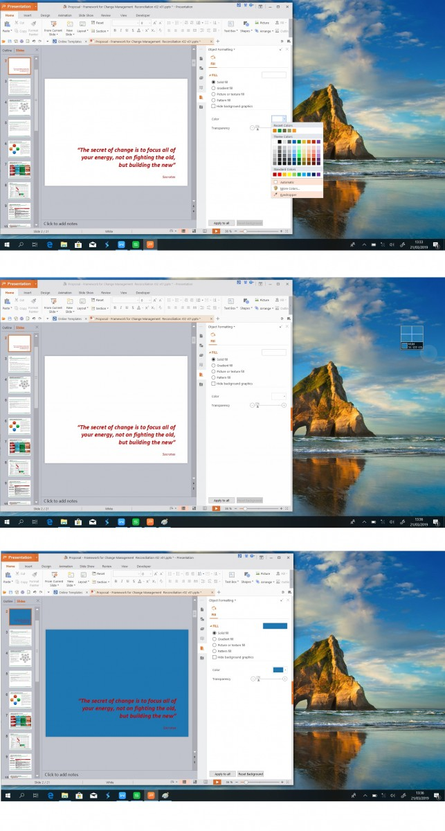 Fungsi Eyedropper pada latar slide Presentation