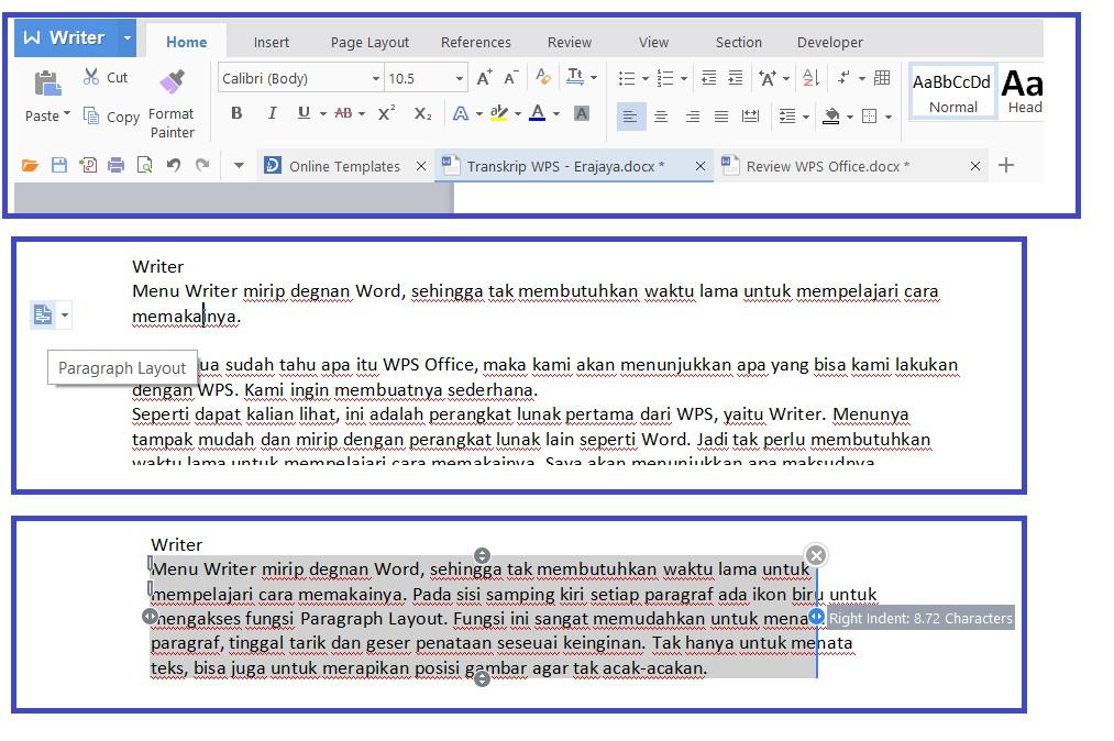 Tampilan Fungsi Paragraph Layout Pada Writer