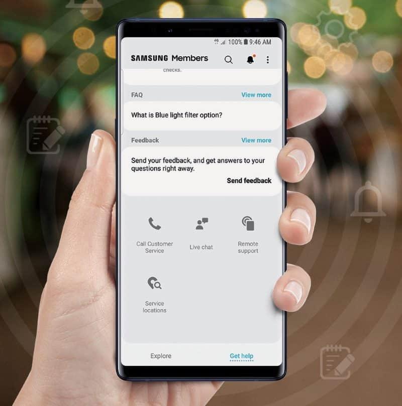 Layanan Livechat dan Remote Support pada aplikasi Samsung Members
