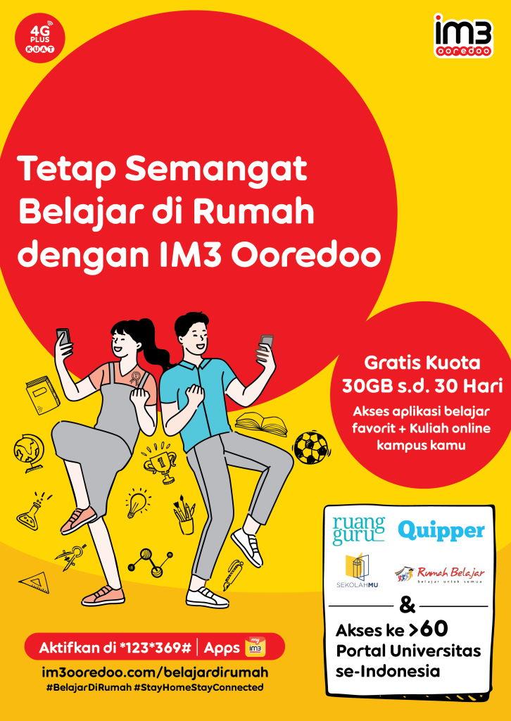Paket Kuota edukasi Indosat Gratis 30GB 30 hari Untuk Belajar Di Rumah