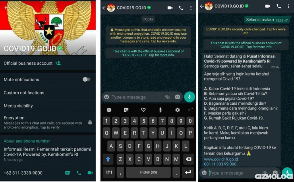 Nomor resmi WhatsApp HotlineInformasi COVID-19 Indonesia Kominfo