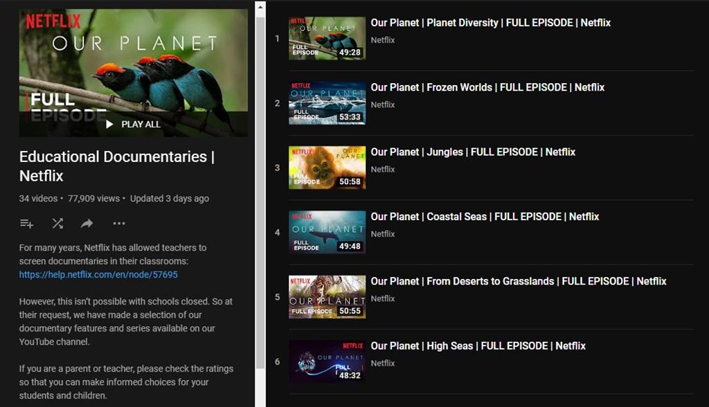 Film Dokumenter Netflix di YouTube