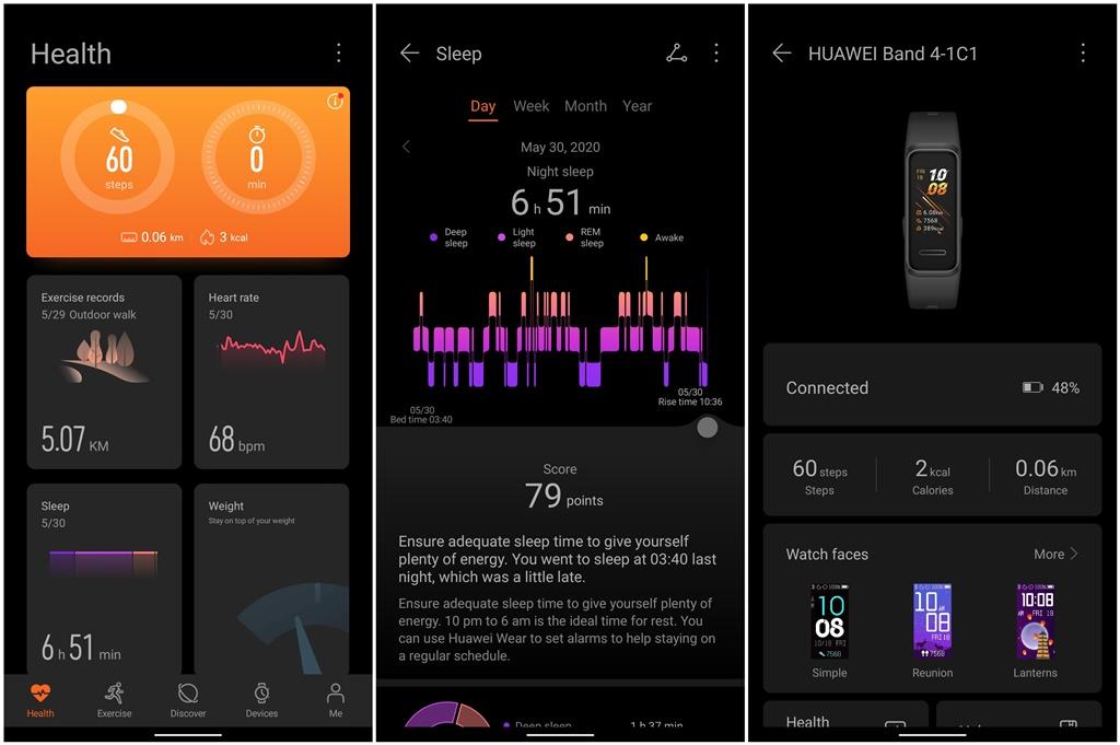 Tampilan antarmuka Huawei Health
