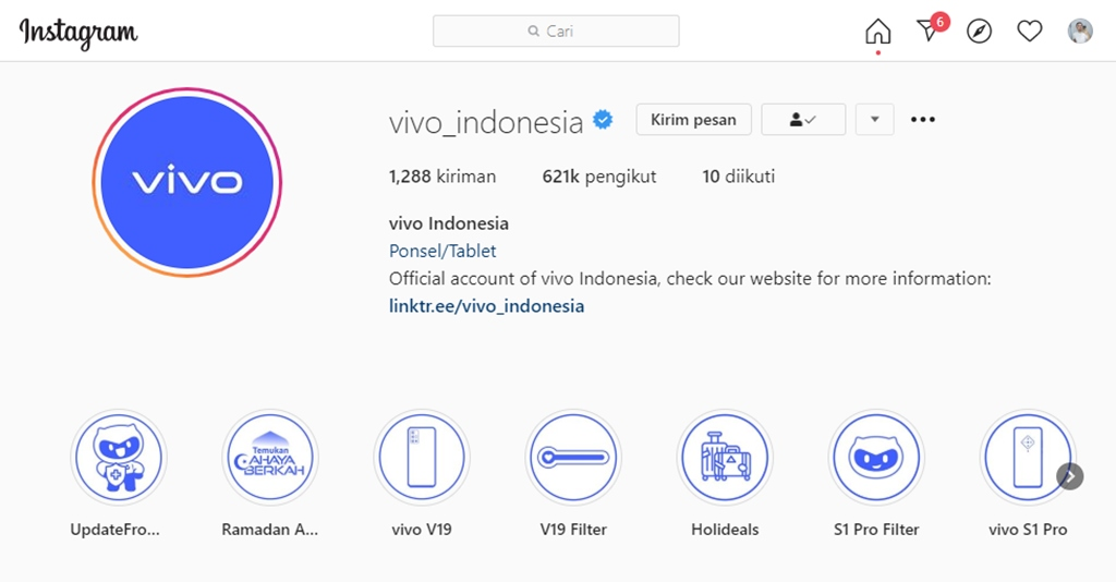 Instagram vivo Indonesia