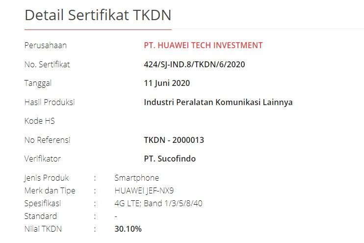 Huawei Nova 7 TKDN