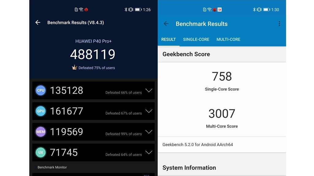 Skor benchmark Huawei P40 Pro Plus
