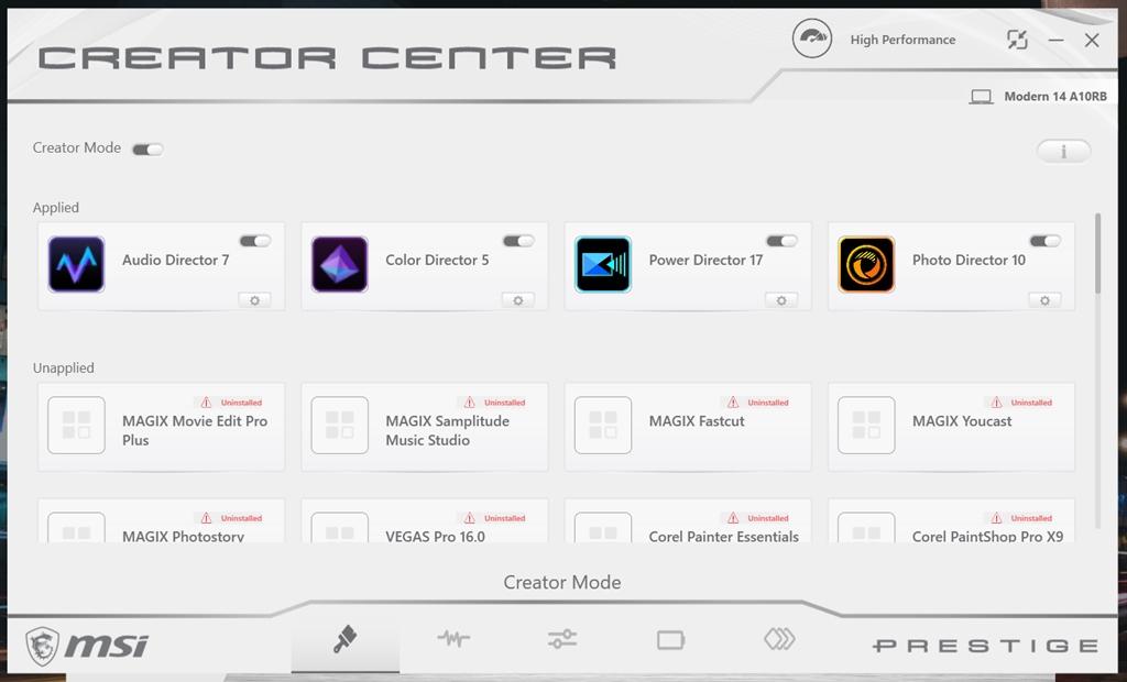 MSI Modern 14 - Creator Center