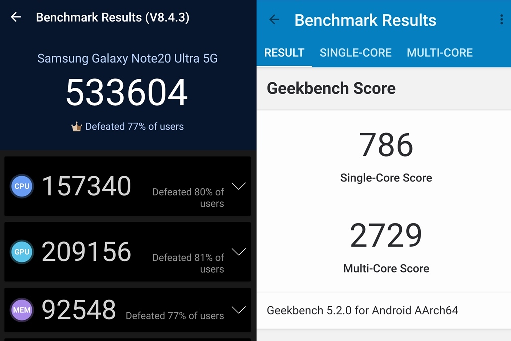 Benchmark Galaxy Note20 Ultra