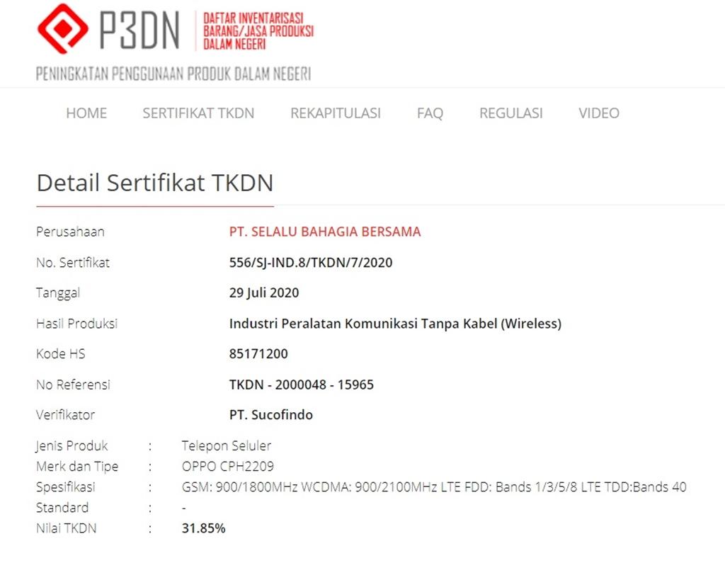 OPPO CPH2209 - TKDN