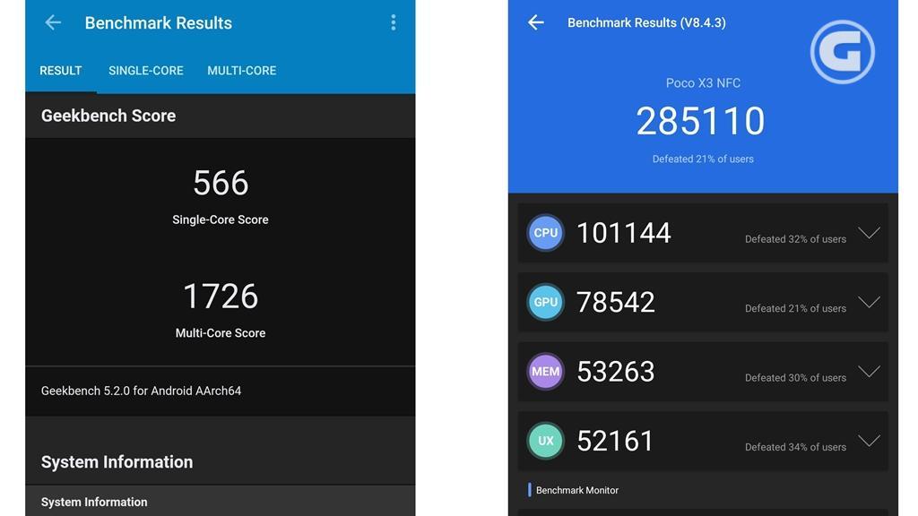 Skor benchmark Poco X3 NFC