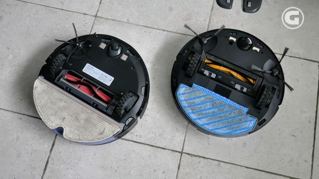Bagian bawah perangkat Ecovacs Deebot Ozmo T8 vs Roborock S6 MaxV