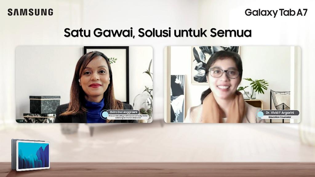 Elvira Dwi Anggraeni Product Marketing Professional Samsung Electronics Indonesia dan Dr. Vivid Argarini konselor pendidikan