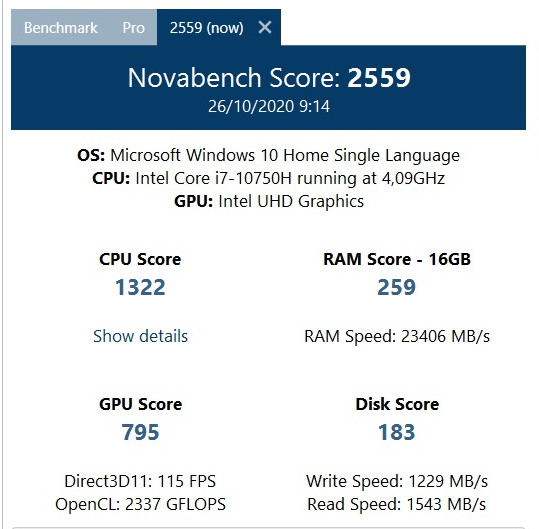 benchmark Novabench MSI GF63