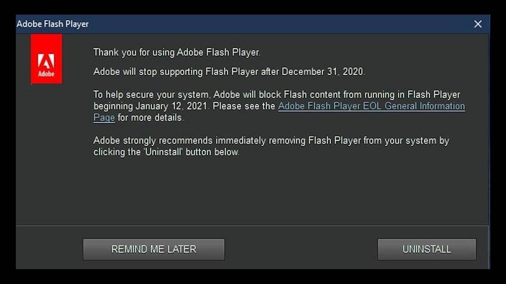 Notifikasi Adobe Flash Player
