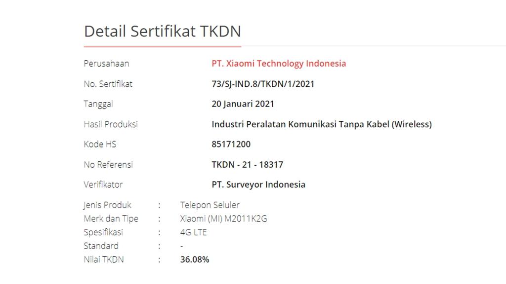 Xiaomi Mi 11 TKDN