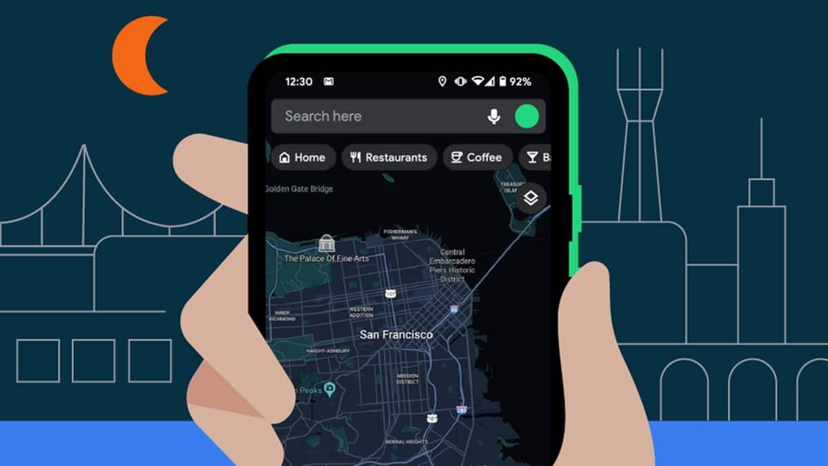 Google Maps - dark mode