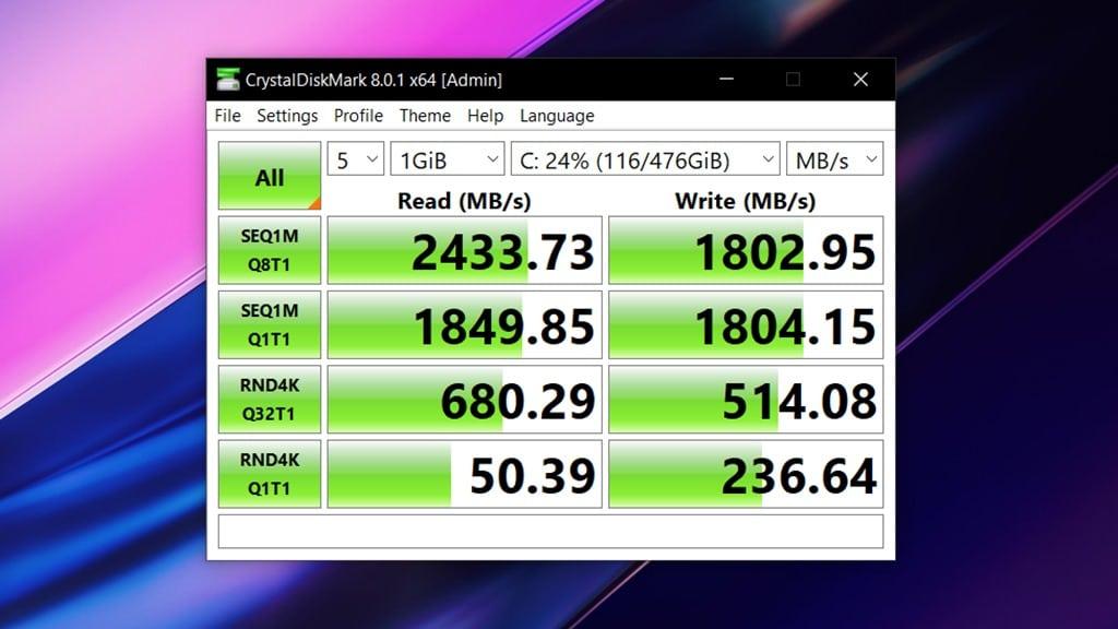 Skor CrystalDiskMark Acer Swift 5 Antimicrobial