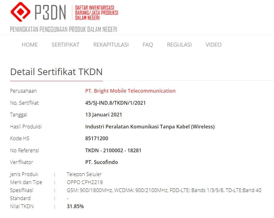 Sertifikasi TKDN OPPO CPH2119