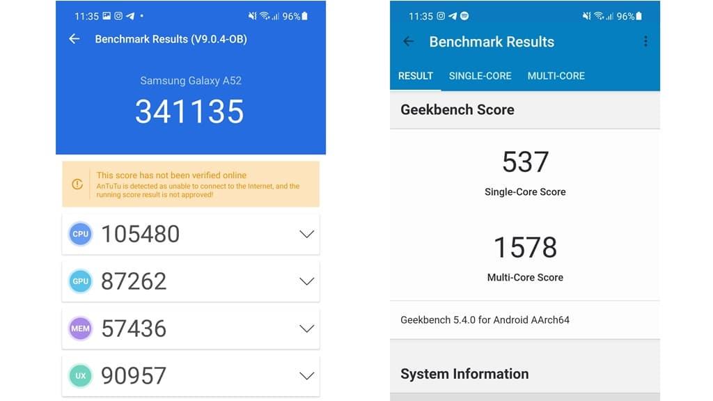 Skor Antutu Samsung Galaxy A52