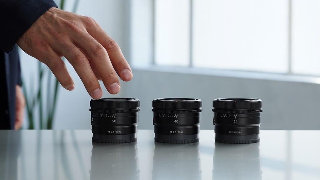 Sony FE 50mm F2.5 40mm F2.5 24mm F2.8 G