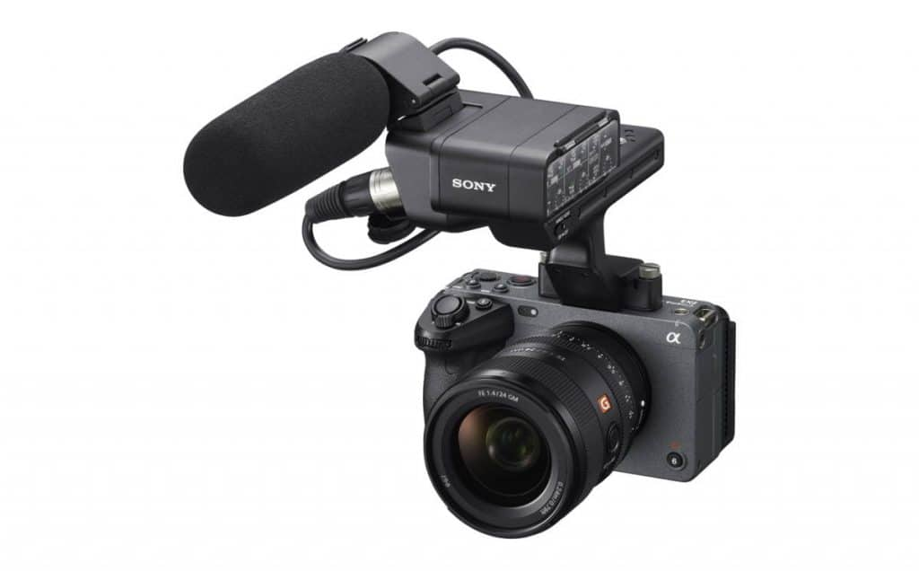 Sony FX3 Cinema Line Camera with Detachable Top Handle equipped with two XLRTRS audio inputs