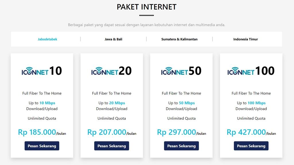 Daftar Harga Paket Internet Iconnet